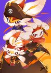 absurdres bandana bright_pupils brown_headwear cinderace closed_mouth clothed_pokemon coat commentary_request furry gen_8_pokemon hat hatted_pokemon highres minamo_(pixiv17726065) pokemon pokemon_(creature) pokemon_(game) pokemon_unite raboot red_bandana red_eyes scorbunny smile white_pupils