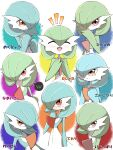 :d :t absurdres alternate_color bangs blush closed_eyes closed_mouth commentary_request flying_sweatdrops gardevoir gen_3_pokemon hair_between_eyes hand_up hands_together highres notice_lines open_mouth orange_eyes parted_lips pokemon pokemon_(creature) pout red_eyes shabana_may shiny_pokemon smile speech_bubble steepled_fingers tearing_up tongue translation_request