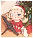 1girl :< bamboo blonde_hair blue_eyes buttons candy candy_cane child christmas commentary_request food fur_collar fur_trim hat kozato_(yu_kozato) original pom_pom_(clothes) santa_costume santa_hat solo tanabata