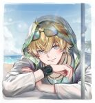 1boy animal_ears arknights beach blonde_hair blue_eyes closed_mouth day dog_boy dog_ears earrings hood hood_up hooded_jacket jacket jewelry looking_at_viewer male_focus mina_(o414) necklace open_clothes outdoors shirt short_hair smile solo sunglasses tequila_(arknights) white_jacket wristband