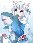 1girl :3 absurdres animal_ear_fluff animal_ears biting bloop_(gawr_gura) blue_background blue_eyes blue_hair blue_hoodie blush cat_ears commentary drawstring fang fish_tail gawr_gura gradient gradient_background hair_ornament highres hololive hololive_english hood hood_down hoodie ikea_shark long_sleeves looking_at_viewer lydia601304 multicolored_hair shark_tail sharp_teeth silver_hair sleeves_past_fingers sleeves_past_wrists streaked_hair stuffed_animal stuffed_shark stuffed_toy tail teardrop teeth two_side_up virtual_youtuber white_background