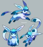closed_mouth commentary_request gen_4_pokemon glaceon green_eyes highres jacknaiff looking_at_viewer lying no_humans on_stomach open_mouth pokemon pokemon_(creature) toes tongue