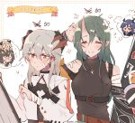 5girls arknights bandaged_arm bandaged_head bandages bandaid bandaid_on_face bangs belt black_shirt blonde_hair blue_hair blush brown_hair ch'en_(arknights) closed_eyes closed_mouth commentary_request covered_collarbone detached_sleeves dragon_horns earrings eyebrows_visible_through_hair flying_sweatdrops glasses green_hair hand_in_hair hand_up highres horns hoshiguma_(arknights) hoshiguma_(patrolling_ronin)_(arknights) ifrit_(arknights) jewelry kyou_039 long_hair long_sleeves multiple_girls necklace official_alternate_costume oni_horns parted_lips pointy_ears saria_(arknights) shirt silence_(arknights) silver_hair single_horn sleeveless sleeveless_shirt stud_earrings thought_bubble translation_request twitter_username upper_body white_background white_shirt