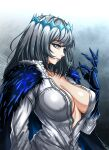 1girl blue_eyes breasts cloak collarbone collared_shirt crown eyebrows_visible_through_hair fate/grand_order fate_(series) from_side gauntlets genderswap genderswap_(mtf) grey_hair highres insect_wings large_breasts looking_at_viewer medium_hair oberon_(fate) parted_lips plunging_neckline shirt solo unbuttoned unbuttoned_shirt wings zantyarz