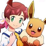1girl bangs braid braided_ponytail brown_hair chloe_(pokemon) closed_mouth collared_dress commentary_request dress eevee flower gen_1_pokemon green_eyes hair_flower hair_ornament hand_up highres kuroki_shigewo long_hair looking_at_viewer pink_flower pokemon pokemon_(anime) pokemon_(creature) pokemon_swsh_(anime) school_uniform short_sleeves simple_background smile split_mouth white_background white_dress yellow_neckwear