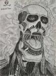armin_arlert bald bone colossal_titan drawing face handy-y-mage highres limbless monochrome muscular open_mouth self_upload shingeki_no_kyojin skull steam tongue