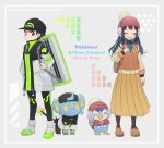 1boy 1girl backpack bag bangs baseball_cap beanie black_hair black_headwear blue_eyes blush brown_bag closed_eyes closed_mouth coat cocoloco commentary_request dawn_(pokemon) earmuffs eyelashes gen_4_pokemon green_sweater hand_up hat hatted_pokemon long_hair lucas_(pokemon) mittens open_mouth piplup pleated_skirt pokemon pokemon_(game) pokemon_bdsp red_mittens ribbed_sweater shinx shoes short_hair skirt smile standing sweater zipper zipper_pull_tab
