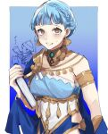 1boy 1girl alternate_costume animal armlet armor artist_request bags_under_eyes bangs blue_dress blue_hair blunt_bangs book braid breasts brown_eyes chibi collar collarbone commentary_request crown_braid crying dancer dancer_(three_houses) dress earrings fire_emblem fire_emblem:_three_houses fire_emblem_heroes gatekeeper_(fire_emblem) helmet highres holding holding_book jewelry marianne_von_edmund medium_breasts musical_note official_alternate_costume open_mouth shawl short_hair shoulder_armor sleeveless sleeveless_dress smile sweatdrop tears teeth upper_body
