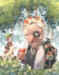 2girls :o animal_ears animal_on_head backpack bag bendy_straw black_dress black_sweater_vest blonde_hair blue_eyes branch calico cat cat_ear_headphones cat_ears cat_on_head cat_tail collared_shirt commentary_request dress drink drinking_straw eye_contact fish flower from_side grey_background hand_up headphones highres holding holding_carton holding_drink holding_leaf id_card leaf leaf_umbrella long_hair long_sleeves looking_at_another medium_hair milk milk_carton minigirl mouth_hold multiple_girls multiple_sources oimo_imoo on_animal on_head open_bag original outdoors parted_lips paw_print plant print_bag profile red_flower red_ribbon ribbon shirt sweater_vest tail tail_ornament tail_ribbon vines white_flower white_hair white_shirt white_tail wide_sleeves wing_collar