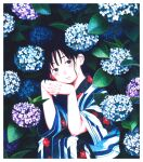 1girl absurdres bangs black_eyes black_hair blue_flower blush border colored_pencil_(medium) commentary_request floral_print flower fuyuno_kamome hands_together head_rest highres hydrangea japanese_clothes kimono leaf looking_at_viewer original own_hands_together parted_lips plant purple_flower short_sleeves solo squatting traditional_media white_border