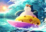 claws closed_mouth commentary_request fangs fangs_out gen_1_pokemon highres innertube no_humans ohdon outdoors pokemon pokemon_(creature) pokemon_(game) pokemon_unite sky smile snorlax solo star-shaped_eyewear sun sunglasses surfing watermark waves