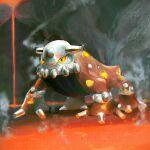 black_eyes byte_(grunty-hag1) claws commentary_request full_body gen_4_pokemon heatran legendary_pokemon molten_rock no_humans pokemon pokemon_(creature) solo standing steam