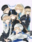 1boy 5others apron asa_(1asa-0-asa1) bag baker_nemo_(fate) bangs belt beret black_apron black_headwear black_jacket black_sailor_collar black_shorts blue_dress blue_hair blue_neckwear blue_pants blue_sailor_collar blue_shirt blush braid braided_ponytail captain_nemo_(fate) closed_eyes collared_shirt dress dress_shirt engineer_nemo_(fate) fate/grand_order fate_(series) glasses gradient_hair green_eyes grey_headwear grey_shirt hat hat_feather high_heels highres jacket light_brown_hair long_hair long_sleeves looking_at_viewer low_twintails lying marine_nemo_(fate) medium_hair multicolored_hair multiple_others nemo_series_(fate) nurse_cap nurse_nemo_(fate) off_shoulder on_stomach open_clothes open_jacket open_mouth pants professor_nemo_(fate) round_eyewear sailor_collar shirt short_hair short_sleeves short_twintails shorts shoulder_bag sidelocks sleeves_past_fingers sleeves_past_wrists smile suspenders thighs tight tight_pants turban twintails two-tone_hair white_headwear white_shirt