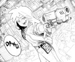 1girl :d aiming_at_viewer belt bright_pupils commentary dutch_angle english_commentary gun holding holding_gun holding_weapon jacket jitome long_hair looking_at_viewer open_clothes open_jacket open_mouth original pants smile solo standing weapon white_pupils y_naf