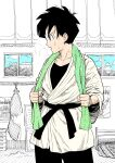 1girl black_bodysuit black_hair black_sash bodysuit commentary dragon_ball dragon_ball_z english_commentary highres jacket open_mouth partially_colored profile sash short_hair solo standing sweat towel towel_around_neck videl y_naf