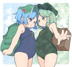 2girls adapted_costume angry backpack bag bare_shoulders blue_eyes blue_hair blush border breasts camouflage commentary_request covered_navel cowboy_shot eye_contact face-to-face foreshortening green_eyes green_hair green_headwear hair_bobbles hair_ornament hat highres kawashiro_nitori looking_at_another multiple_girls one-piece_swimsuit open_mouth outside_border short_hair small_breasts swimsuit touhou turnip_kabura two_side_up v-shaped_eyebrows white_border yamashiro_takane