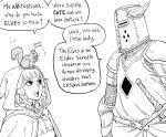 1boy 1girl armor bb_(baalbuddy) braid cloak dragon's_crown elf elf_(dragon's_crown) english_commentary english_text helmet highres hood hooded_cloak knight original pointy_ears sheath sheathed simple_background speech_bubble squirrel sword the_elder_scrolls weapon white_background