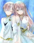 1boy 1girl adele_(fate) armlet asa_(1asa-0-asa1) bangs bare_shoulders blush breasts brother_and_sister brown_hair closed_eyes dress fate/grand_order fate_(series) green_eyes highres jewelry long_hair looking_at_viewer makarios_(fate) medium_breasts neck_ring short_hair siblings smile toga white_dress