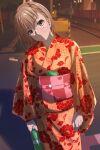 1girl absurdres arms_at_sides bangs blush bob_cut bottle brown_eyes brown_hair cellphone closed_mouth commentary cowboy_shot floral_print hair_between_eyes halya_meri head_tilt highres holding holding_bottle japanese_clothes kimono light_smile looking_at_viewer misaka_mikoto night nose_blush obi orange_kimono outdoors phone railroad_tracks sash short_hair smartphone solo toaru_kagaku_no_railgun toaru_majutsu_no_index