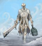 1other ambiguous_gender armor belt boots breastplate cape commentary dagger disembodied_head english_commentary facing_viewer full_armor helmet highres holding holding_head holding_sword holding_weapon knife knight mail_armor metal_boots monster original outdoors scabbard sheath standing sword vial walking weapon white_belt white_cape y_naf