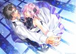 1boy 1girl alternate_costume bare_shoulders black_flower black_hair black_neckwear black_pants blue_eyes closed_mouth command_spell commentary_request dancing dress fate/grand_order fate_(series) fingernails flower formal fujimaru_ritsuka_(male) hair_flower hair_ornament hand_on_another's_back highres holding_hands hug indoors light_particles light_purple_hair lips long_sleeves looking_at_another mash_kyrielight minami_seira official_alternate_costume pants pink_lips short_hair sleeveless sleeveless_dress smile suit under_the_same_sky vest violet_eyes waltz_(dance) white_dress white_suit white_vest wrist_cuffs