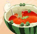 bear bird chai food fruit gelatin holding holding_spoon leaf no_humans original polar_bear spoon watermelon