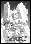 armor black_border border commentary condensation_trail copyright_request english_commentary english_text greyscale highres mecha monochrome no_humans outdoors pauldrons shoulder_armor standing y_naf