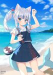 1girl :3 animal_ears bag bangs beach blouse blue_eyes blue_skirt blue_sky blue_vest cat_ears clouds cube eyebrows_visible_through_hair fish_tail gawr_gura hair_cubes hair_ornament highres hololive hololive_english instagram_username looking_at_viewer ocean ri_nyahn shark_girl shark_tail side_ponytail sidelocks skirt sky solo stitches tail twitter_username vest white_blouse white_hair