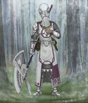1other armor belt boots commentary dagger english_commentary facing_viewer forest full_armor full_body gauntlets halberd hand_up helmet highres holding holding_polearm holding_weapon knife knight mail_armor metal_boots nature original outdoors pauldrons pelvic_curtain polearm scabbard sheath shoulder_armor standing veil weapon white_belt y_naf
