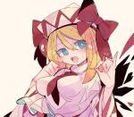 1girl bangs blonde_hair blue_eyes bow breasts bright_pupils eyebrows_visible_through_hair finger_touching hat hat_bow highres lily_white long_hair long_sleeves looking_at_viewer massakasama medium_breasts necktie open_mouth pointy_hat red_bow red_neckwear shirt simple_background solo sweatdrop touhou upper_body white_background white_headwear white_pupils white_shirt wide_sleeves