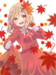 1girl :d aki_shizuha bangs blonde_hair blurry blush breasts clothes_lift commentary_request cowboy_shot depth_of_field dress eyebrows_visible_through_hair falling_leaves hair_between_eyes hair_ornament hand_up happy holding holding_clothes holding_leaf holding_skirt leaf leaf_hair_ornament lifted_by_self long_hair long_sleeves looking_to_the_side maple_leaf open_mouth red_dress simple_background skirt skirt_lift small_breasts smile snow_to_you solo touhou upper_teeth white_background yellow_eyes