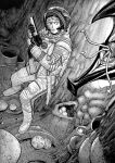 1girl alien astronaut closed_mouth commentary english_commentary finger_on_trigger greyscale gun highres holding holding_gun holding_weapon making-of_available monochrome monster original sawed-off_shotgun shotgun space_helmet standing tp-82 weapon wide-eyed y_naf