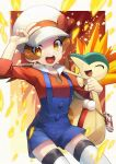 1girl :d blue_overalls bow brown_eyes brown_hair cabbie_hat commentary_request cyndaquil gen_2_pokemon hat hat_bow highres long_hair lyra_(pokemon) open_mouth pokegear pokemon pokemon_(creature) pokemon_(game) pokemon_hgss red_bow red_shirt shirt smile thigh-highs tongue twintails upper_teeth v white_headwear white_legwear yamanashi_taiki yellow_bag