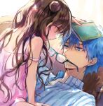 1boy 1girl bangs bare_shoulders black_hair blue_eyes blue_hair blue_shirt blush book breasts collared_shirt couch double_bun dress_swimsuit fate/grand_order fate_(series) full_body girl_on_top hans_christian_andersen_(adult)_(fate) hans_christian_andersen_(fate) long_hair long_sleeves lying multicolored_hair older on_back parted_bangs pink_hair pink_swimsuit sesshouin_kiara sesshouin_kiara_(lily) shirt short_hair small_breasts smile streaked_hair striped striped_shirt swimsuit vertical-striped_shirt vertical_stripes very_long_hair vivi_(eve_no_hakoniwa) wavy_hair yellow_eyes younger