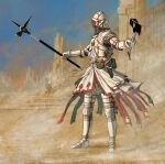 1other ambiguous_gender armor axe belt boots breastplate commentary dagger day english_commentary full_armor highres holding holding_axe holding_weapon knife knight mail_armor metal_boots original outdoors outstretched_arms pouch scabbard sheath spread_arms standing war_hammer weapon white_belt y_naf