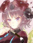 1girl asa_(1asa-0-asa1) bangs blue_eyes blush breasts calligraphy_brush fate/grand_order fate_(series) fur_collar hair_ornament hairpin japanese_clothes katsushika_hokusai_(fate) kimono large_breasts long_sleeves looking_at_viewer paintbrush purple_hair purple_kimono red_kimono short_hair solo wide_sleeves