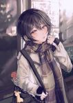 1girl bag black_hair brown_coat brown_eyes brown_scarf coat commentary d4dj giraffe_three hand_up highres long_sleeves looking_at_viewer miyake_aoi open_clothes open_coat outdoors parted_lips plaid plaid_scarf scarf short_hair shoulder_bag sleeves_past_wrists solo upper_body