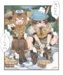 1boy 1girl animal_ears bangs bath_stool bathing belt border bow bowtie breast_pocket brown_hair captain_(kemono_friends) capybara_(kemono_friends) closed_eyes commentary_request day eyebrows_visible_through_hair fanta_(the_banana_pistols) full_body gloves hair_between_eyes hat hat_feather highres holding holding_sponge japari_symbol kemono_friends kemono_friends_3 leaning_forward legwear_under_shorts long_sleeves medium_hair open_mouth outdoors pantyhose pocket shirt shoes short_sleeves shorts side-by-side sitting smile soap soap_bottle soap_bubbles sponge stool suspenders towel towel_on_head washing wet wet_clothes wet_shirt wet_shorts yellow_sponge you're_doing_it_wrong