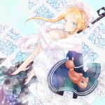 1girl abigail_williams_(fate) alternate_costume asa_(1asa-0-asa1) bangs black_footwear black_skirt blonde_hair blue_eyes blush braid breasts dress enmaided fate/grand_order fate_(series) forehead french_braid heroic_spirit_festival_outfit highres hugging_own_legs keyhole knees_up layered_skirt long_hair looking_at_viewer maid maid_headdress mop parted_bangs sash sidelocks skirt sleeves_past_fingers sleeves_past_wrists small_breasts stuffed_animal stuffed_toy teddy_bear very_long_hair white_bloomers white_dress