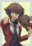 1boy :d absurdres black_shirt border brown_eyes brown_hair card duel_academy_uniform_(yu-gi-oh!_gx) grey_border hair_between_eyes highres holding holding_card jacket long_sleeves looking_at_viewer male_focus medium_hair multicolored_hair open_clothes open_jacket open_mouth outside_border red_jacket shirt smile solo ta_(pixiv30070603) two-tone_hair winged_kuriboh yellow_background yu-gi-oh! yu-gi-oh!_gx yuuki_juudai