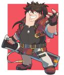 1boy belt_buckle big_belly black_eyes black_gloves boots border brown_hair buckle cosplay double_chin drogo_doggo english_commentary family_guy fat fat_man fewer_digits fingerless_gloves full_body gloves grin guilty_gear guilty_gear_strive headband highres holding holding_sword holding_weapon junkyard_dog_mk_iii long_hair looking_at_viewer male_focus pants peter_griffin ponytail pun red_background red_footwear red_headband red_vest reverse_grip signature smile sol_badguy sol_badguy_(cosplay) solo sword vest weapon white_border zipper_pull_tab