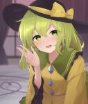 1girl bangs bed black_headwear blouse blurry blurry_background blush bow collar crystal curtains eyebrows_visible_through_hair eyes_visible_through_hair frills gradient gradient_sky green_eyes green_hair green_skirt hair_between_eyes hand_up hat hat_bow highres jewelry kanpa_(campagne_9) komeiji_koishi long_sleeves looking_at_viewer open_mouth pink_sky purple_sky short_hair skirt sky smile solo sunset touhou wide_sleeves window yellow_blouse yellow_bow
