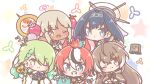 5girls animal_ears apple bag blue_eyes blue_hair blush_stickers braid branch brown_capelet brown_cloak brown_eyes brown_hair capelet ceres_fauna chibi cloak clothing_cutout collar commentary_request dark-skinned_female dark_skin earrings eyebrows_visible_through_hair feather_hair_ornament feathers food french_braid fruit golden_apple green_eyes green_hair hair_between_eyes hair_ornament hakos_baelz highres holocouncil hololive hololive_english jewelry long_hair mitarashi_neko mouse mouse_ears mouse_girl mouse_tail multicolored_hair multiple_girls nanashi_mumei one_eye_closed open_mouth ornament ouro_kronii paper_bag planet_hair_ornament rat redhead ribbon sparkle spiked_collar spikes tail tsukumo_sana v virtual_youtuber white_hair