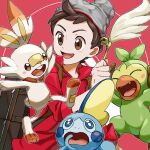 1boy :d beanie blush brown_eyes brown_hair cable_knit cat_teaser commentary_request gen_8_pokemon grey_headwear grookey hat highres holding komame_(st_beans) male_focus open_mouth pokemon pokemon_(game) pokemon_swsh red_shirt scorbunny shirt sleeves_rolled_up smile sobble starter_pokemon_trio suitcase tongue victor_(pokemon)
