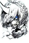 1girl blood blood_on_face blue_eyes eye_focus highres horns looking_at_viewer maid_headdress niwarhythm oni portrait re:zero_kara_hajimeru_isekai_seikatsu rem_(re:zero) sharp_teeth simple_background single_horn solo spot_color teeth white_background