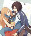 1boy 1girl anger_vein blonde_hair blush bracelet breasts brown_hair calem_(pokemon) closed_mouth commentary_request eye_contact gen_4_pokemon high-waist_skirt jacket jewelry long_hair looking_at_another lucario pants pleated_skirt pokemon pokemon_(creature) pokemon_(game) pokemon_xy red_eyes red_skirt serena_(pokemon) shirt short_hair skirt sleeveless sleeveless_shirt socks spikes squiggle sweatdrop thigh-highs twitter_username white_legwear yairo_(sik_s4) yellow_fur