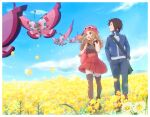 1boy 1girl :d bag blonde_hair blush boots border bracelet brown_hair bug butterfly calem_(pokemon) closed_mouth clouds commentary_request day field flower flower_field gen_6_pokemon hat highres holding_strap insect jacket jewelry long_hair looking_to_the_side open_mouth outdoors pants pink_bag pink_headwear pleated_skirt pokemon pokemon_(creature) pokemon_(game) pokemon_xy red_skirt serena_(pokemon) shirt shoes shoulder_bag skirt sky sleeveless sleeveless_shirt smile standing thigh-highs tongue twitter_username vivillon white_border yairo_(sik_s4) yellow_flower