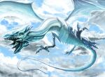 blue-eyes_white_dragon blue_eyes blue_sky claws clouds cloudy_sky dragon duel_monster flying long_neck no_humans ogura_anko open_mouth scales sharp_teeth sky solo talons teeth tongue tongue_out veins yu-gi-oh!