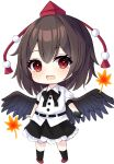 .me 1girl :d bangs bird_wings black_bow black_hair black_neckwear black_skirt black_wings blush bow bowtie camera chibi commentary_request eyebrows_visible_through_hair feathered_wings full_body hat holding holding_camera leaf looking_at_viewer maple_leaf open_mouth petticoat pom_pom_(clothes) puffy_short_sleeves puffy_sleeves red_eyes red_headwear shameimaru_aya shirt short_hair short_sleeves simple_background skirt smile solo standing tokin_hat touhou white_background white_shirt wing_collar wings