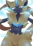 blue_eyes blurry claws closed_mouth commentary_request fang fang_out furry gen_7_pokemon hand_on_hip highres looking_at_viewer momamo mythical_pokemon pokemon pokemon_(creature) smile solo yellow_fur zeraora